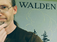 Michael Channing selfie with a Walden book cover poster