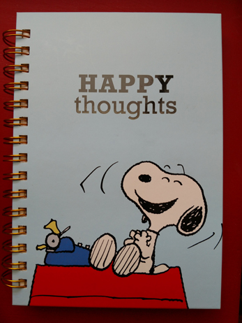 m journal with Snoopy on the front